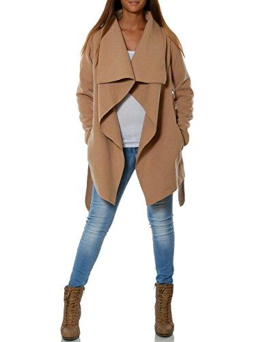 Damen Mantel Hüftlang Cardigan mit Taillengürtel No 15717 Camel XXL / 44