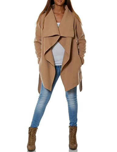 Damen Mantel Hüftlang Cardigan mit Taillengürtel No 15717, Farbe:Camel, Größe:XL / 42 (Mantel Taille)