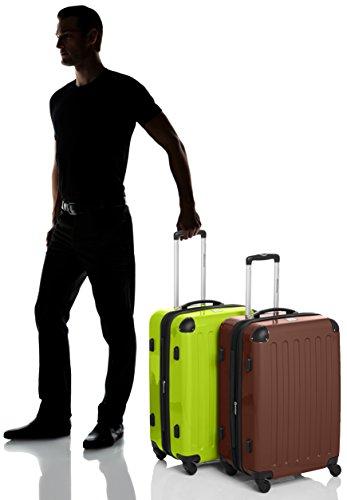 HAUPTSTADTKOFFER - Alex - 2er Koffer-Set Hartschale glänzend, TSA, 65 cm, 74 Liter, Aubergine-Silber Braun-Apfelgrün