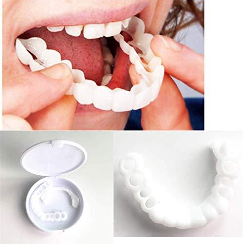OOFAYWFD Zahnpflege Reparatur Aufhellung Zahn-Set Prothese Furnier DIY-Simulation Klammern temporäre Reparatur fehlende Zähne Silikon analoge kieferorthopädische Gerät abnehmbare 3 Box-Set