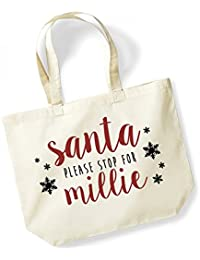 Santa Please Stop For 'Your Name' - Personalised Name - Large Canvas Fun Slogan Tote Bag