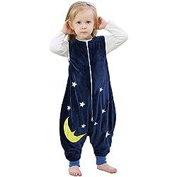 ZEEUAPI - Saco de dormir de franela para bebés niños infantíl Ropa para dormir (S (1-3 años), Azul marino - Estrellas)