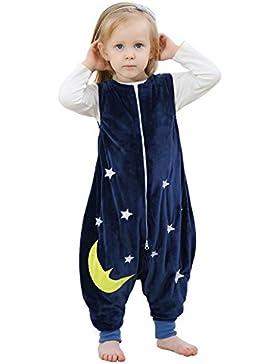 ZEEUPAI - Flanell ärmellos Schlafsack mit Beinen für Baby / Kleinkinder / Junge / Mädchen (S (1-3 Jahre), Dunkelblau...