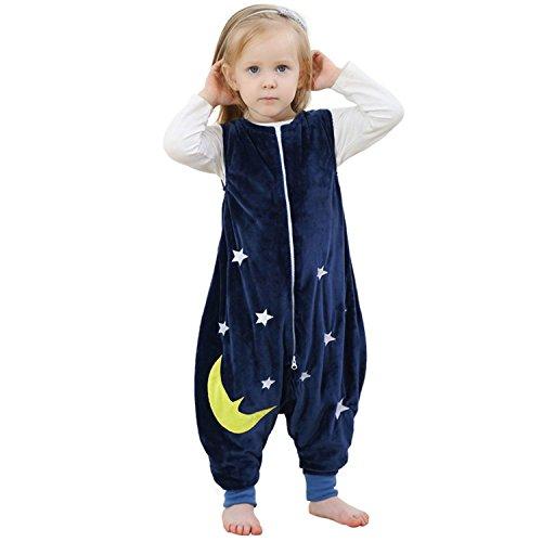 ZEEUPAI - Sacco a pelo di flanella Sacchi nanna con piedini lettino per bambini bambina S (1-3 anni ) Azul marino - Estrellas