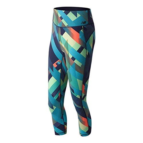 New Balance Damen Printed High Rise Transform Crop Leggings, Deep Ozone Gradient, L - Knit Cropped Legging