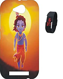 BKDT Marketing Printed back cover for Micromax Canvas Play Q355 with Digital Watch