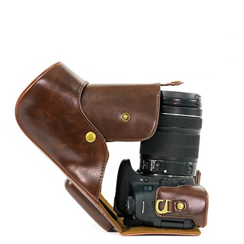 MegaGear Leder Kameratasche für Canon EOS 750D / Canon EOS 760D Kamera mit 18-200 (T6i, T6s) Kompakte Systemkamera (Dunkelbraun)