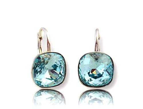Crystals & Stones *Viele Farben* Silber 925 *SQUARE* - Ohrringe mit Kristallen von Swarovski® - Schön Ohrringe Damen Ohrhänger - Wunderbare Ohrringe mit Schmuckbox (Türkis)