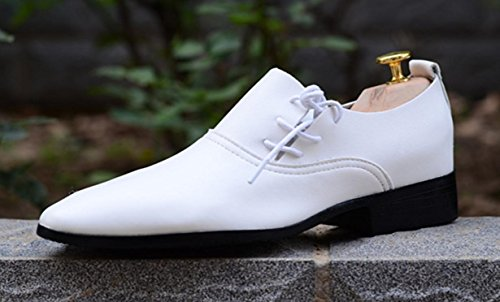 HYLM Männer Hochzeit Schuhe Haar Styles Weiße Schuhe Herren Leder Business Casual Schuhe Bankett Kleider Schuhe , 42 , white