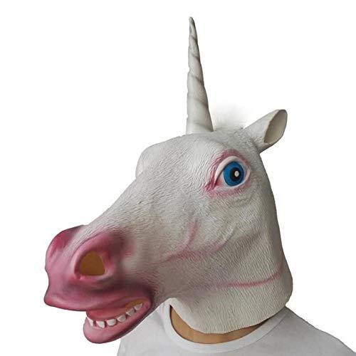 FLTVSN Halloween Maske Einhorn Pferd Latex Maske Halloween gruselig Party Deluxe Neuheit Kostüm Party Cosplay Rep Gummi gruseliger Kopf Vollgesicht Maske