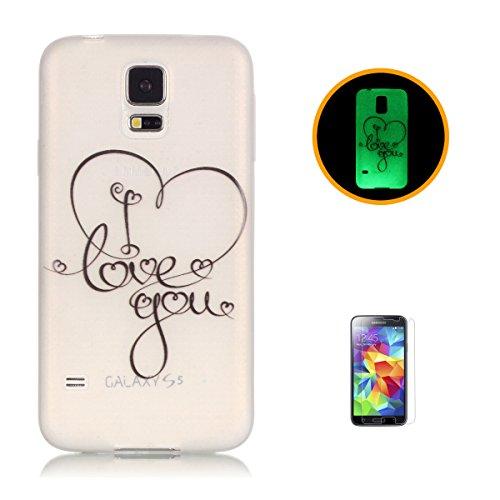 CaseHome Samsung Galaxy S5 Luminous Hülle (Mit Frie Displayschutzfolie) Leuchtende Silikone Rückhülle Für iPhone 6 6s Plus 5.5 Zoll Zoll Silikon Etui Handy Hülle Weiche Transparente Luminous TPU Back  Ich liebe dich