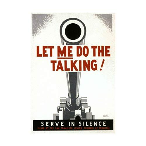 Wee Blue Coo LTD WAR WW2 Gun Silence Talking Vintage AD Art Frame Print Picture F12X1892