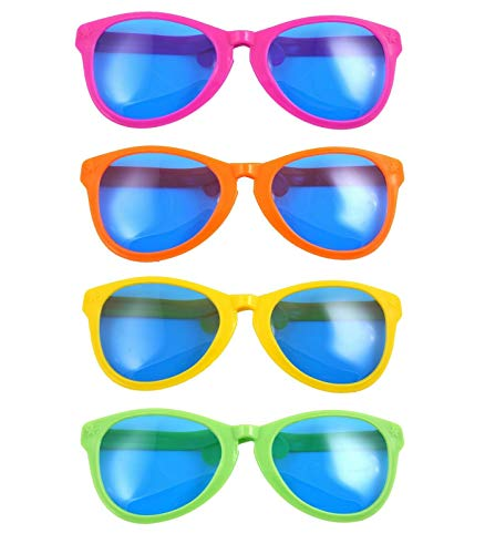 fashioncrazexx Riesige Neuheit Witz Sonnenbrille verschiedene Farben 28 cm Junggesellenabschied Partyzubehör 4 Stück Gr. Einheitsgröße, 28 Cm Giant Glasses Assorted Colours Pack of 4