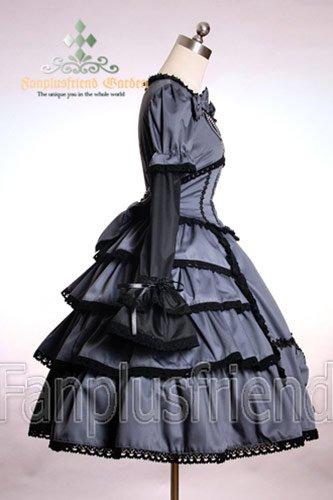 Robe grise lolita aristocrate à plusieurs niveaux de volants et perles Noir