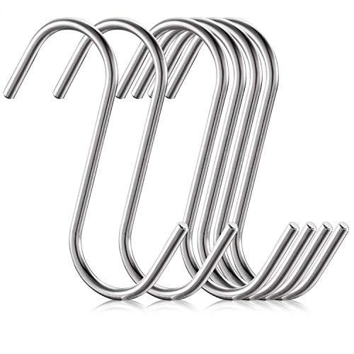 Höhe Pan Rack (6 Pack Size Große 4,1 Zoll flache S Haken Heavy Duty feste Edelstahl S geformte hängende Haken, Metall Küche Topf Pan Kleiderbügel Rack Haken)