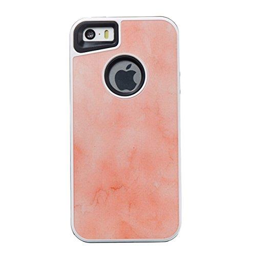 iPhone 5S / iPhone SE Hülle, Voguecase Flüssig Schwimmend Treibsand Glitzer Bling Silikon Schutzhülle / Case / Cover / Hülle / TPU Gel Skin für Apple iPhone 5 5G 5S SE(Kupfersand silberner Diamant) +  Marmor-Orange