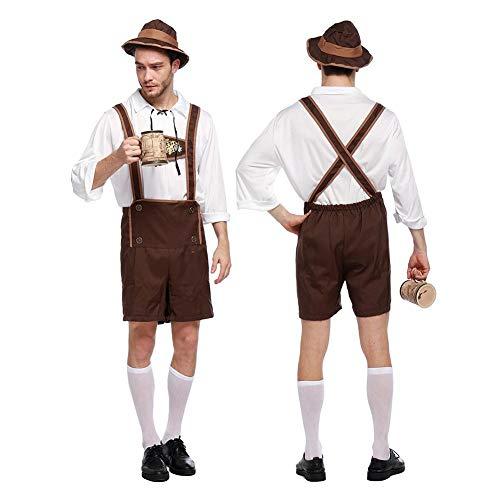 Fuitna Halloween Bayern Mann Kostüm Oktoberfest Kostüm Halloween Deutsche Outfits für Männer Abend Schaukel Party Kleidung, XL