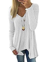 028cbefc7759 Hippolo Langarm V-Ausschnitt Pullover Damen Jumper Pulli, Frauen Asymmetrisch  Strickpullover Sweatshirt Shirt Strickpulli