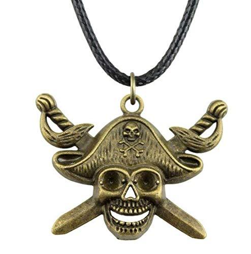 Halskette mit Anhänger Kapitänskordel Piraten der Karibik Totenkopf Bronze Stahl Schädel Skelett mit Hut Kommandant Piraten Biker Punk Gothic Rock n Roll Harley Mode Swag Trend