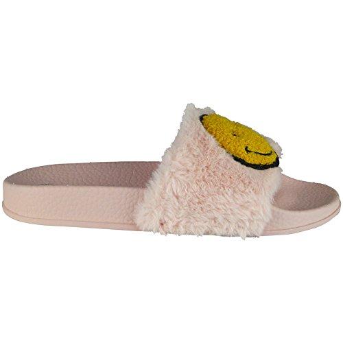 Da donna Le signore Comodo Pianura Gomma da cancellare Emoji Pantofole Scarpe Pantofole Dimensione 36-41 Rosa