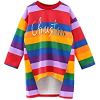 ASHOP Vestidos de Princesa 2019 Tutú Faldes de Fiesta Carta de impresión Arco Iris de la Raya Vestido T-Shirt Manga Larga Algodón Casual Niñas1-6 Años