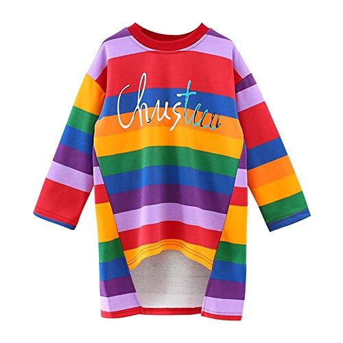 Kobay Baby Kind Mädchen Brief Print Regenbogen Streifen asymmetrische Prinzessin Kleider(18-24M,Mehrfarbig)