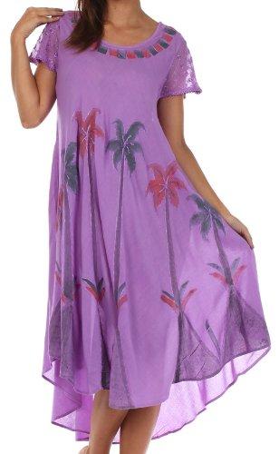 Sakkas 116 Aquarell-Palme-Behälter Kaftan Kleid - Lila / One Size