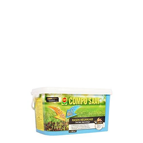 COMPO SAAT Rasen-Neuanlage-Mix, Mischung aus Rasensamen und Rasendünger mit 3 Monate Langzeitwirkung, 2,2 kg, 100 m² (Regelmäßige Mischung)