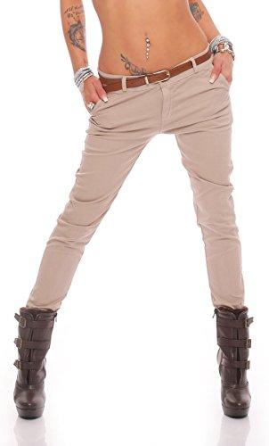 10777 Fashion4Young Damen Skinny Chino Pant Hautenge Treggings Stretch-Stoff Damenhose mit Gürtel (L=40, Beige)