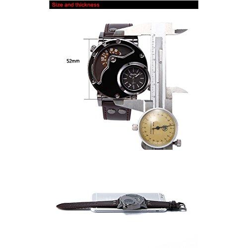 Aviator Pilot Army Military Sport Quarz Herren Armbanduhr Dual Time Schwarzes Lederband [Schwarz]
