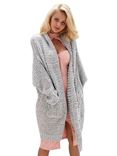 Simplee Apparel Damen Strickjacke Langarm Oversize Boyfriend Style Lang Kimono Cardigan Strickmantel Grau