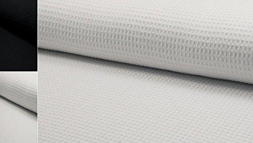 StoffBook WAFFELSTOFFE BAUMWOLLE PIQUÉ 1CM WAFFELPIQUE 360G/M STOFF STOFFE, D383 (Weiß)