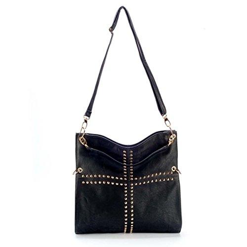 OBC ital-design moderne Damen Shopper DIN-A4 Tasche verwand. Beuteltasche Hobo-Bag Schultertasche Umhängetasche Handtasche Nieten