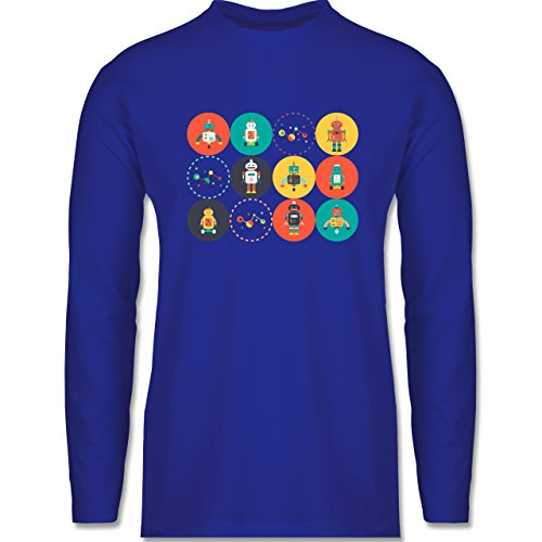 Nerds & Geeks - Roboter Design - Longsleeve / langärmeliges T-Shirt für Herren Royalblau