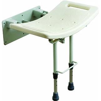 Drive Medical SWALL002 – Asiento para ducha con patas (fijación a pared), color blanco