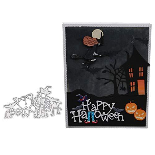 Mentin Happy Halloween Metall Form Schneiden Schablonen DIY Sammelalbum Dekor Papier Karten, Metall Buchzeichen, Metall Lesezeichen Als Geschenk Fuer Freunde