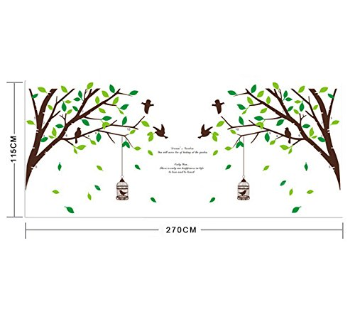 ufengke® xlarge serie verde giardino di alberi verdi rami birdcage ... - Soggiorno Pareti Verdi 2