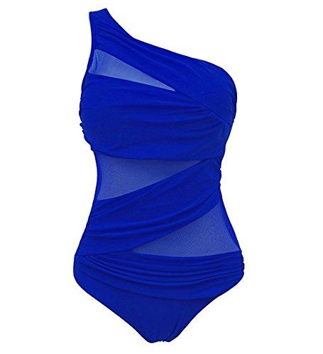 Badeanzug Für Frauen Ein Stück Kurze ärmel Surf - Anzug Sonnenschutz(Blau-4XL) (Bikini Junioren String Bottom)