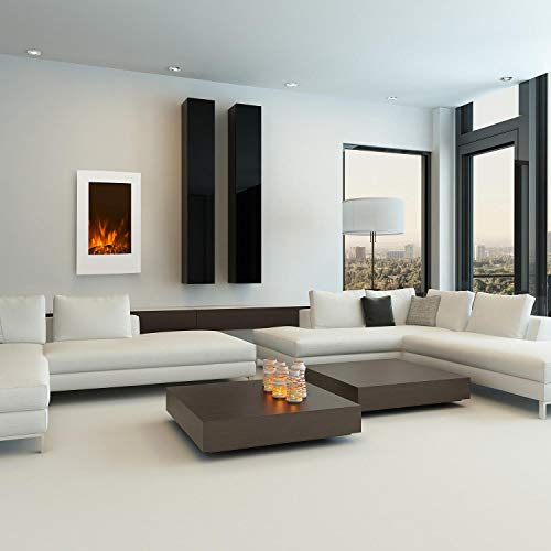 Klarstein-Lausanne-Vertical–Chimenea-elctrica–Chimenea-electrnica–Funcin-calefactora–1000-o-2000-W-de-Potencia–Vidrio–Llama-simulada–Montada-en-la-Pared–Mando-a-Distancia–Blanco