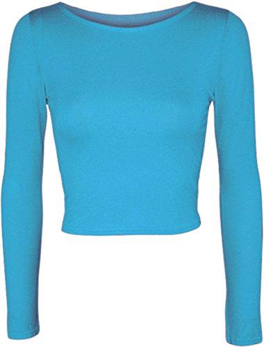 MKL Fashions -  Maglia a manica lunga  - Donna Turquoise
