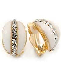 Forma de acrílico blanco con Clip en los pendientes en oro de cristal de chapado - 20 mm L