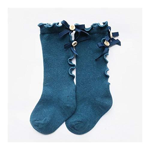 MINGYUECHAO Junge Bogen Mädchen Rohr Socken Aus Holz Ohr Spitze Kinder Einfarbig Baby Baumwolle Socken Socke Enfant Kleinkind Knie Pack (Color : Royal blue, Size : XL) - Mädchen Socken Rohr