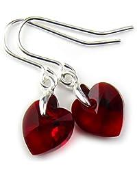 Rojo oscuro Pendientes 10 mm Corazones de cristal Swarovski en caja de regalo libre de la joyería Diosa #JSP