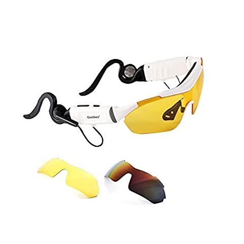 Smart Glasses,COOSO Bluetooth Fashion Smart Sunglasses Blurtooth-Call/MP3/Voice Navigation Seven Functions in one,Three Lens,K1 White