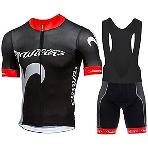 veinater hombre manga corta ciclismo Jersey y pantalones cortos en bicicleta babero Kit Negro, hombre, color negro, tamaño XXL