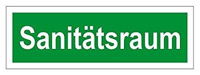 Inter Flower - Rettungszeichen SANITÄTSRAUM - Warnschild - Erste Hilfe - 10,6 x 29.7 cm - PVC - grün - Arbeitsschutz - Warnzeichen Kunststoffschild - Arbeitsplatz - Betrieb - Schutz