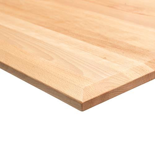 boho möbelwerkstatt DO IT Yourself Massivholz Tischplatte Schreibtischplatte 180 x 80 x 2.5 cm in Buche Massiv mit 50 mm Breiten, durchgehenden Lamellen geölt und gewachst