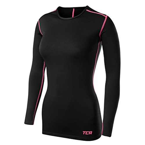 TCA Femme SuperThermal Maillot de Compression Base Layer de Sport - Noir/Rose, XL