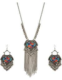 Zephyrr Jewellery Set German Silver Afghani Dangler Earrings Pendant Necklace Set