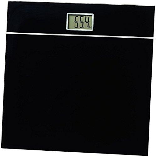 newgen medicals Badezimmerwaage: Elegante Design-Personenwaage, bruchsicheres Glas, schwarz, bis 150 kg (Gewichtswaage)